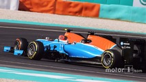 Esteban Ocon, Manor Racing MRT05 leads Pascal Wehrlein, Manor Racing MRT05