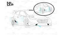 Ford Fiesta WRC 2017 hava akımı çizgileri detayı