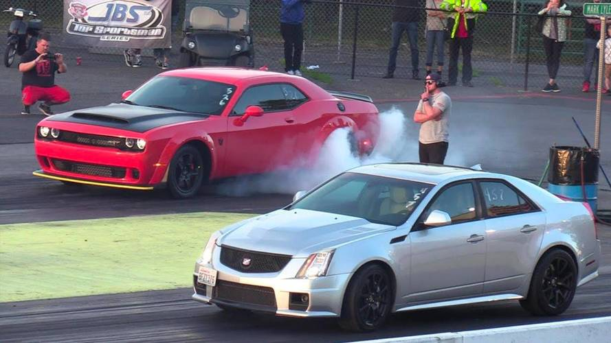 Cadillac CTS-V Eats Dodge Demon's Dust On Drag Strip