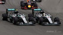 Lewis Hamilton and team mate Nico Rosberg at the start of the race