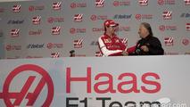 Esteban Gutiérrez and Gene Haas, driver for Haas F1 Team, presentation