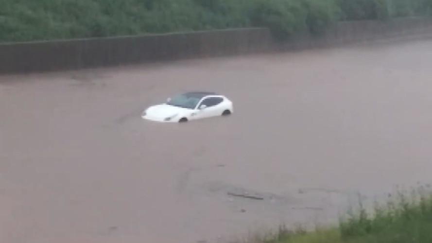 Ferrari FF Takes A Swim During Flash Flood