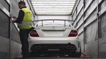 Mercedes C63 AMG Coupe Black Series loading at Frankfurt airport 03.03.2012