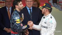 Daniel Ricciardo with Lewis Hamilton