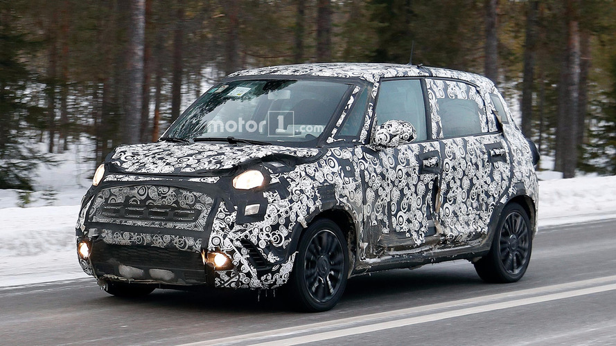 Fiat 500L spied testing with refreshed face
