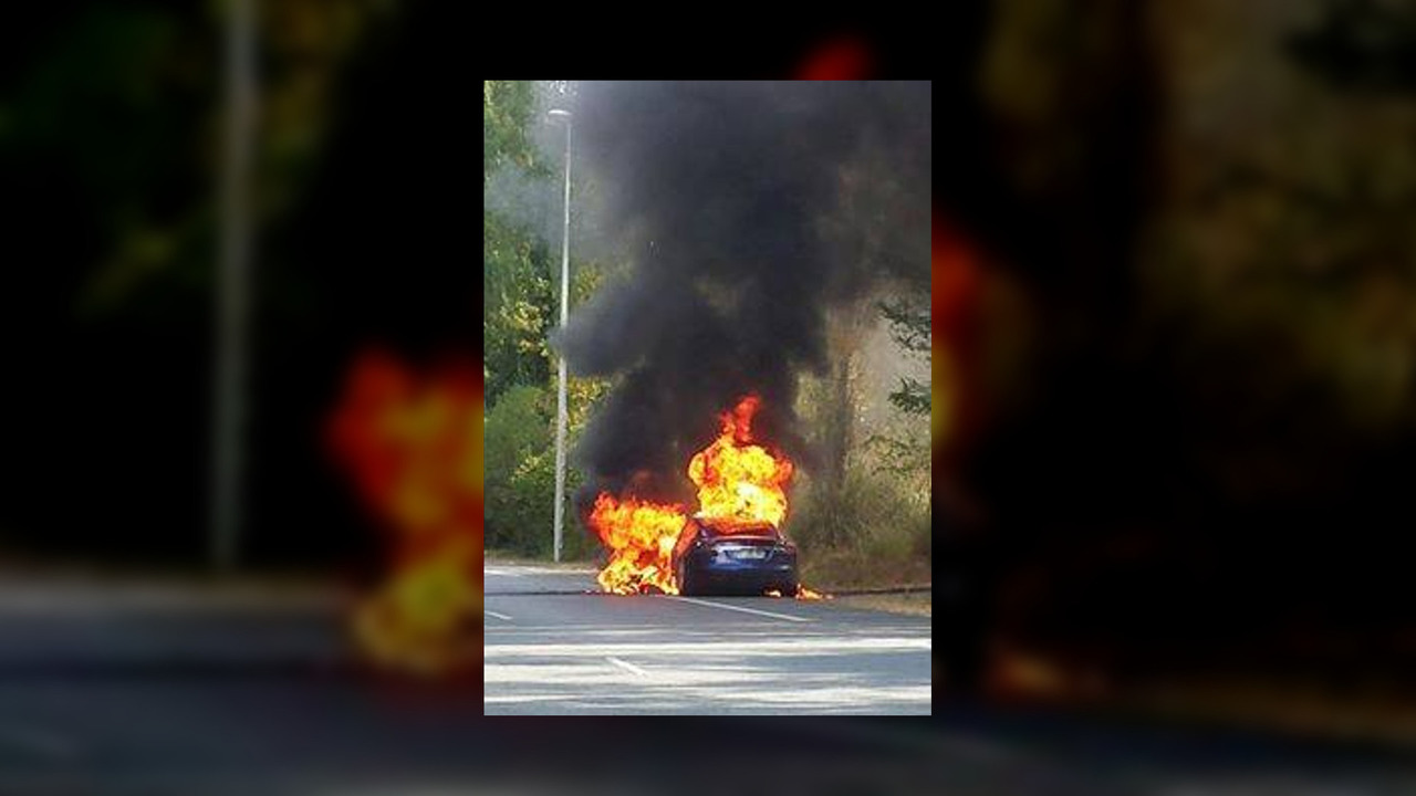 Tesla Model S catches fire