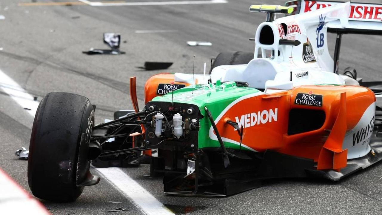 Vitantonio Liuzzi (ITA), Force India F1 Team crashes during first qualifying session, German Grand Prix, Saturday Qualifying, 24.07.2010 Hockenheim, Germany