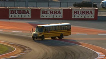 Bus Drives On Track