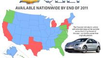 Chevrolet Volt launch map - 1.28.2011