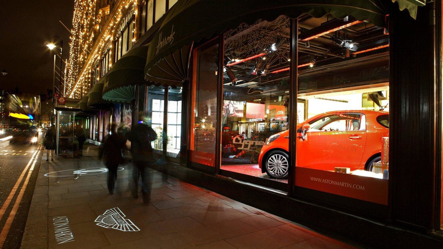 Aston Martin Cygnet unveiled at Harrod's department store