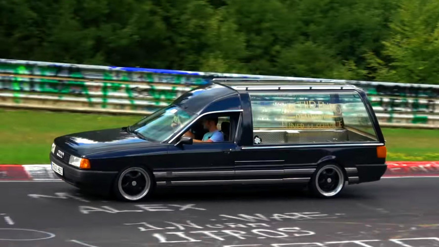 """Audi 80 Hearse At The Nurburgring Puts The """"Fun"""" In Funeral"""