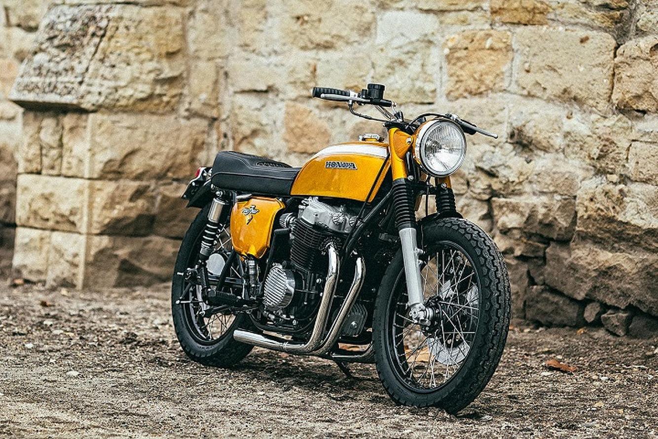 Custom 1971 Honda CB750 Motorcycle is a Golden Beauty