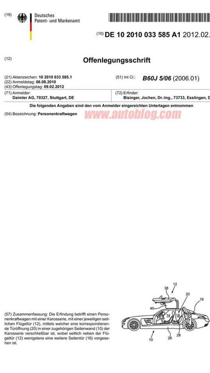 Four-Door Mercedes SLS AMG patent
