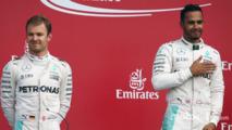 Nico Rosbergwith team mate Lewis Hamilton, Mercedes AMG F1