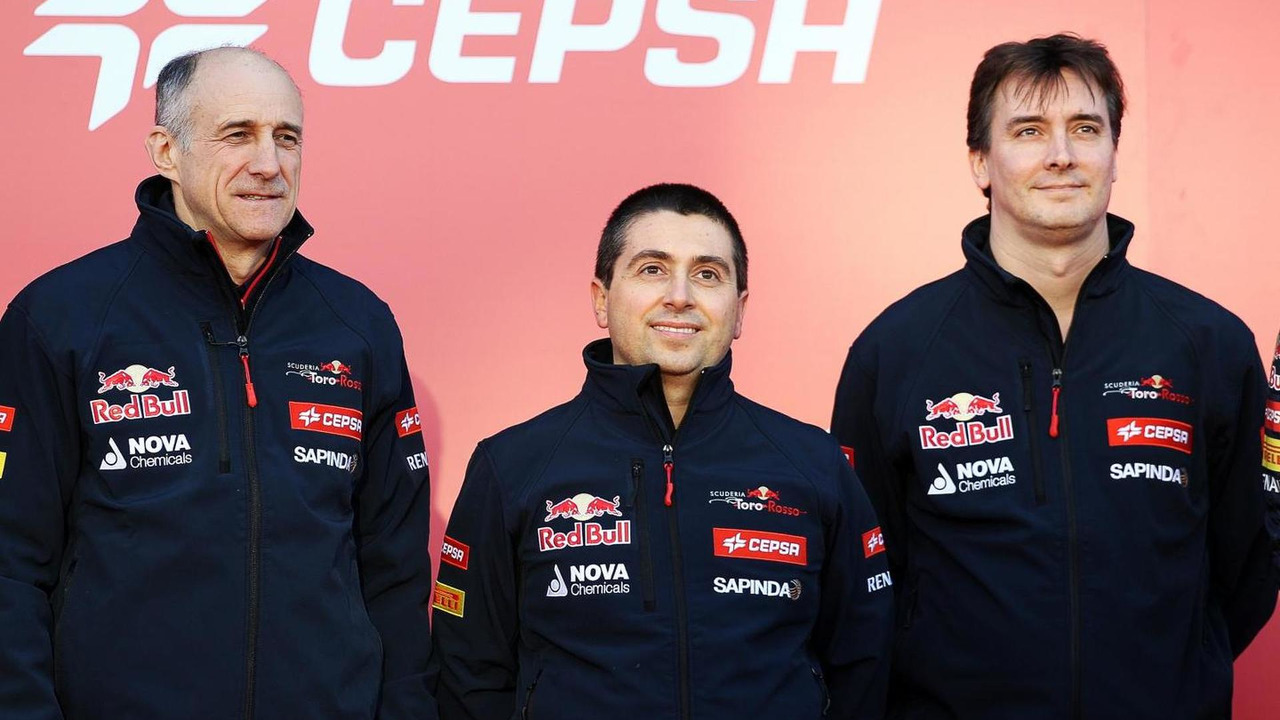 Franz Tost, Luca Furbatto and James Key at the unveiling of Scuderia Toro Rosso STR9 27.01.2014 Formula One Testing Jerez Spain