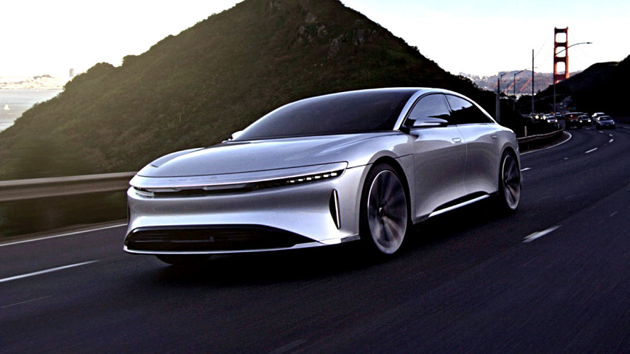 This is Lucid Air EV in motion cruising San Francisco Bay Area