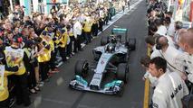 Race winner Nico Rosberg (GER) Mercedes AMG F1 W05 enters parc ferme, 16.03.2014, Australian Grand Prix, Albert Park, Melbourne / XPB