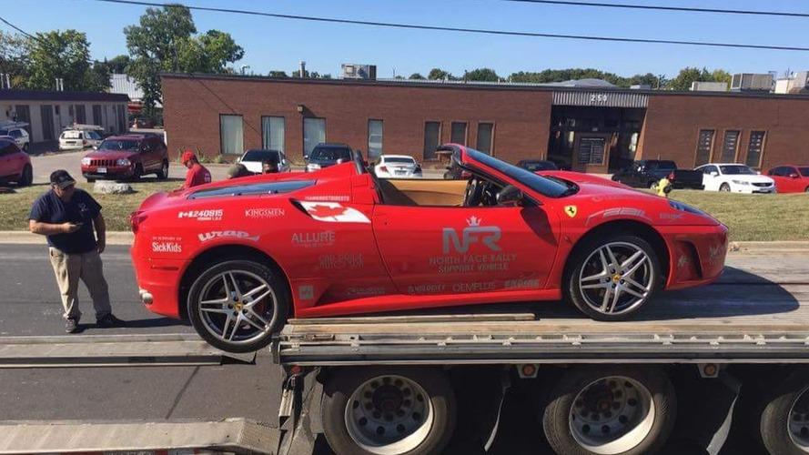 Ferrari flatbed fail video caught in Toronto