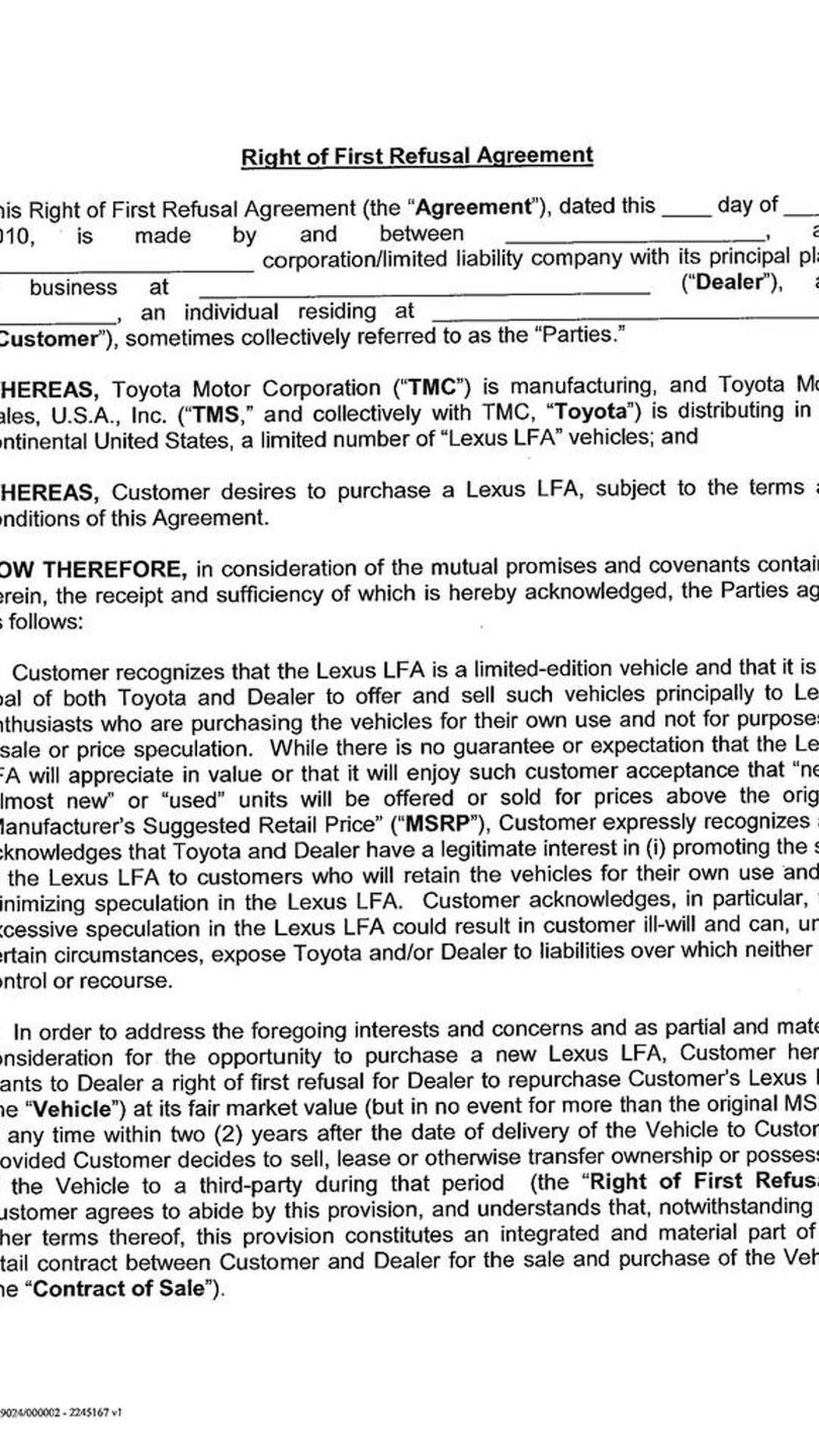 Mutual Understanding Agreement Format Best Resumes 2010 207860 Lexus Lfa  Lease Purchase Letter 800 06 08
