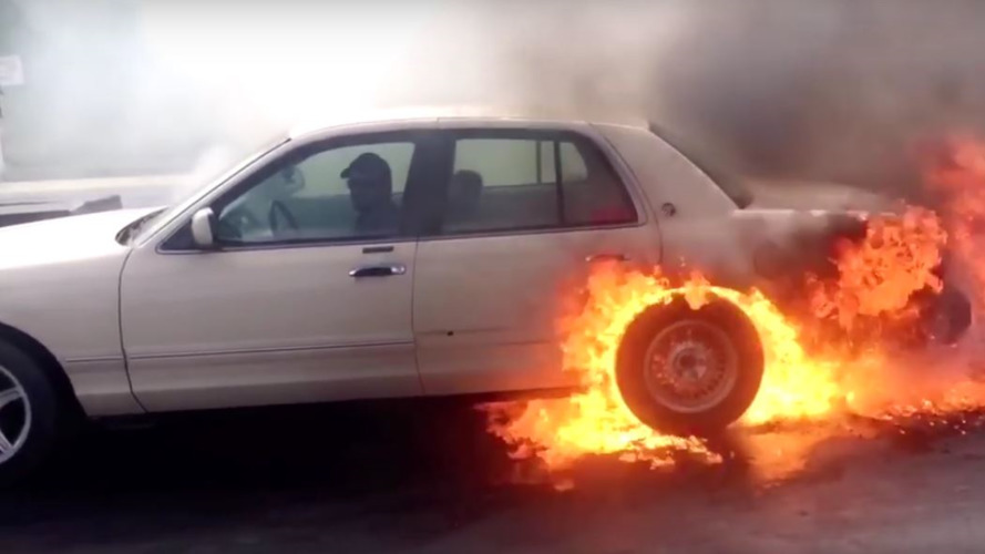 Mercury Grand Marquis lights up the tires - literally