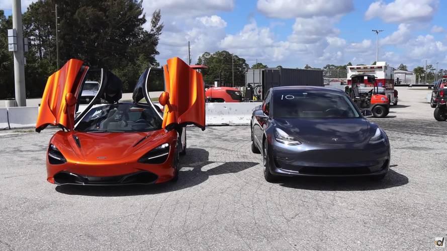 Watch McLaren 720S Blow Away Tesla Model 3 In Drag Race