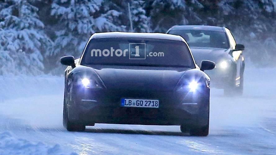 Porsche Mission E Winter Spy Photos