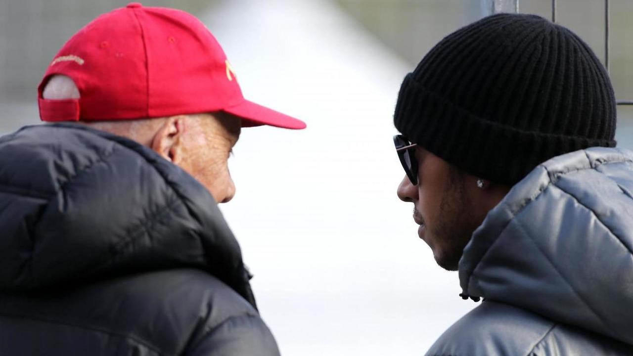 Niki Lauda and Lewis Hamilton 29.01.2014 Formula One Testing Jerez Spain