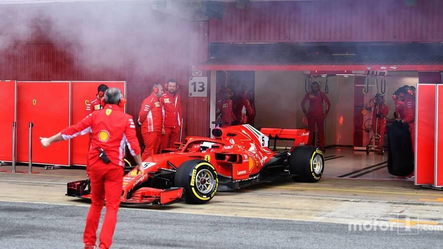 Ferrari SF71H'tan neden beyaz dumanlar çıkıyor?