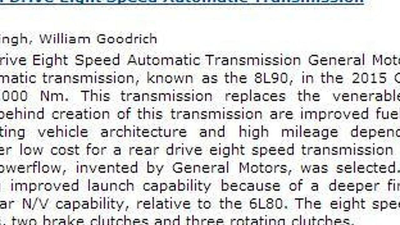 2015 Chevrolet Corvette eight-speed auto leak 09.12.2013