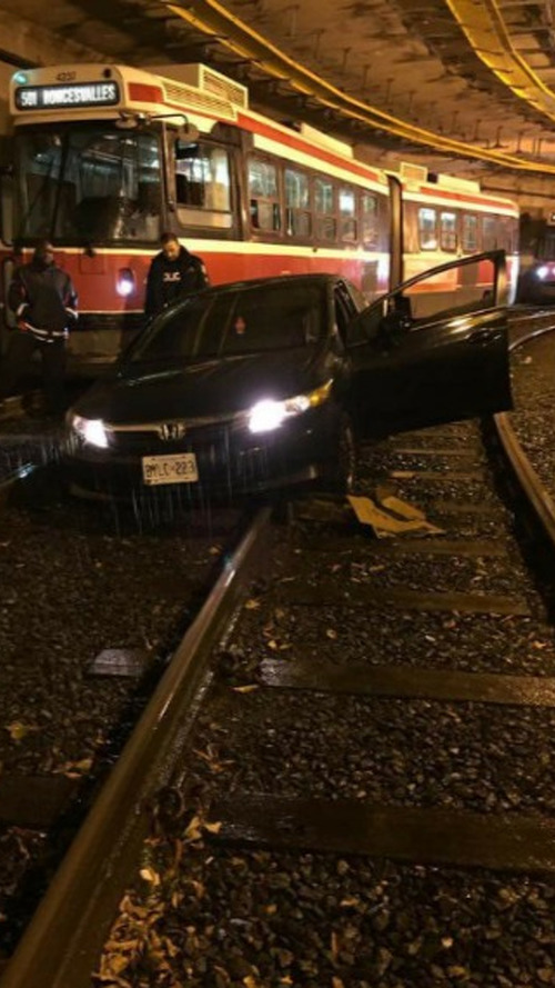 Driver fail sees Honda Civic end up on TTC streetcar tracks