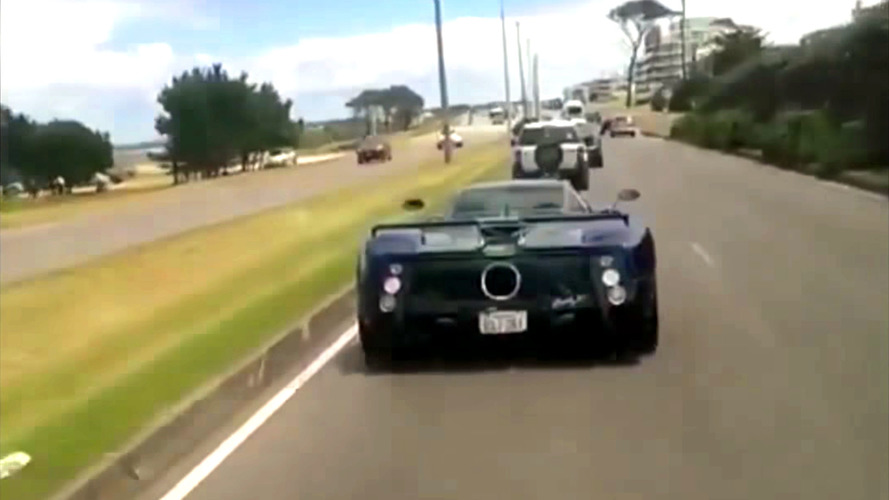 Pagani Zonda rear-ended by guy taking video