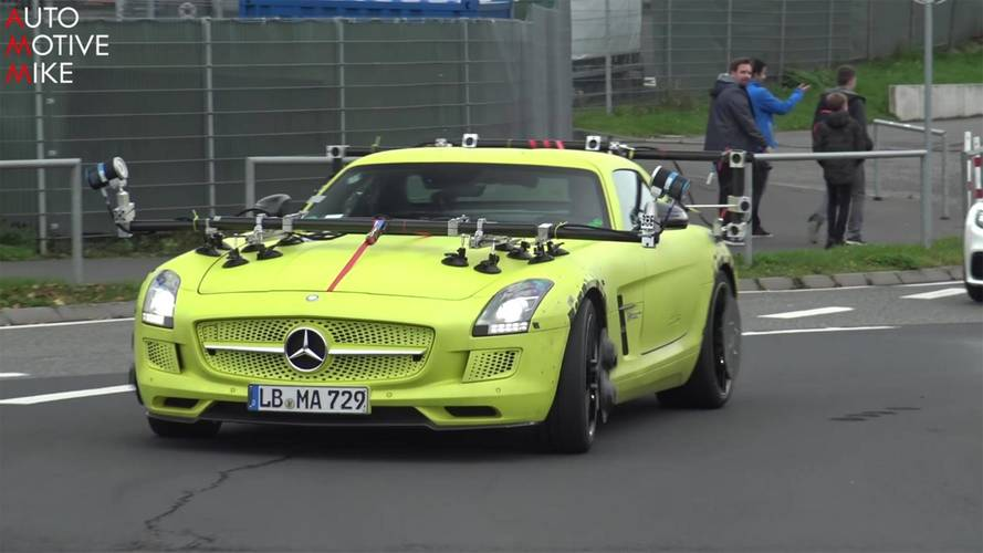 Mysterious Mercedes SLS AMG Electric Drive spied out testing