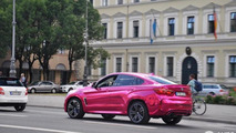 BMW X6 M with pink chrome wrap