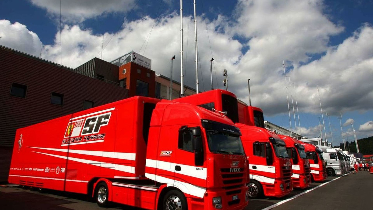 The Ferrari trucks line-up ready for the Belgium rand prix this weekend
