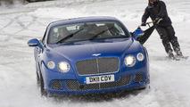 Bentley Continental GT pulls ski joring champion Franco Moro at Gstaad 2012 07.02.2012