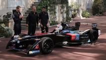 Prince Albert II drives the Venturi Formula E near the palace