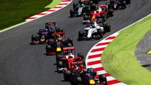 Daniel Ricciardo leads Sebastian Vettel, Max Verstappen