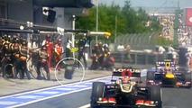 F1 tyre hits cameraman