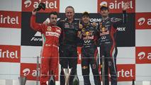 Fernando Alonso, Jonathan Wheatley, Sebastian Vettel, Mark Webber, Indian Grand Prix podium, 28.10.2012