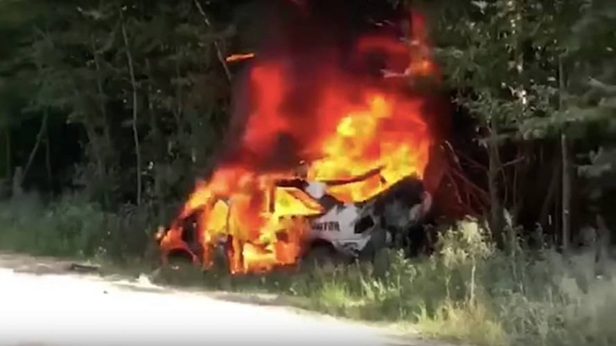 Ken Block's Ford Escort RS Cosworth Ends Up In Fire At NEFR