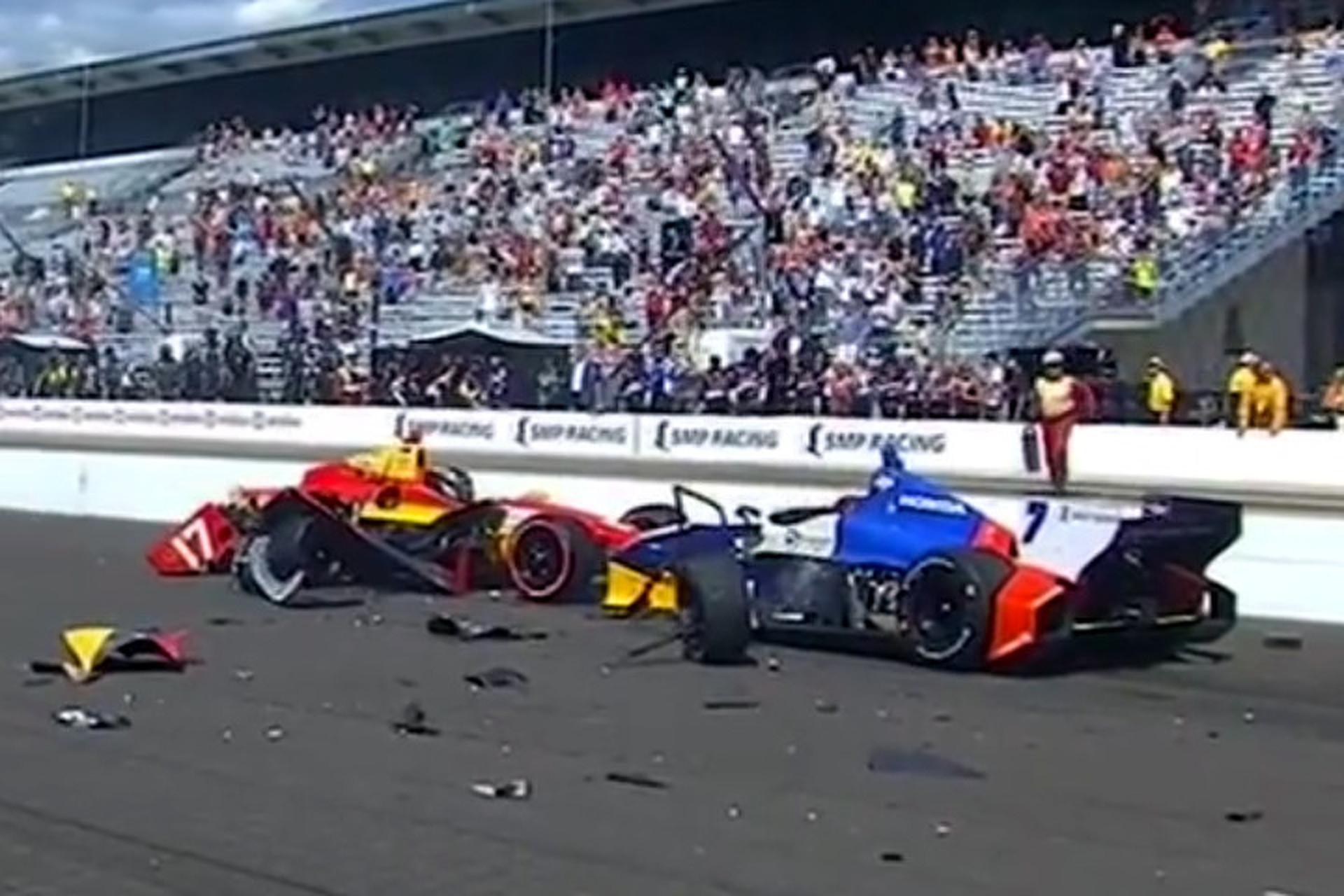 Intense Crash at Start of Indianapolis Grand Prix [Video]
