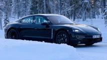 Porsche Mission E Winter Spy Shots