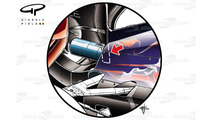 The rear wing of the Toro Rosso STR10 support pylon on the STR10 intersects with the exhaust