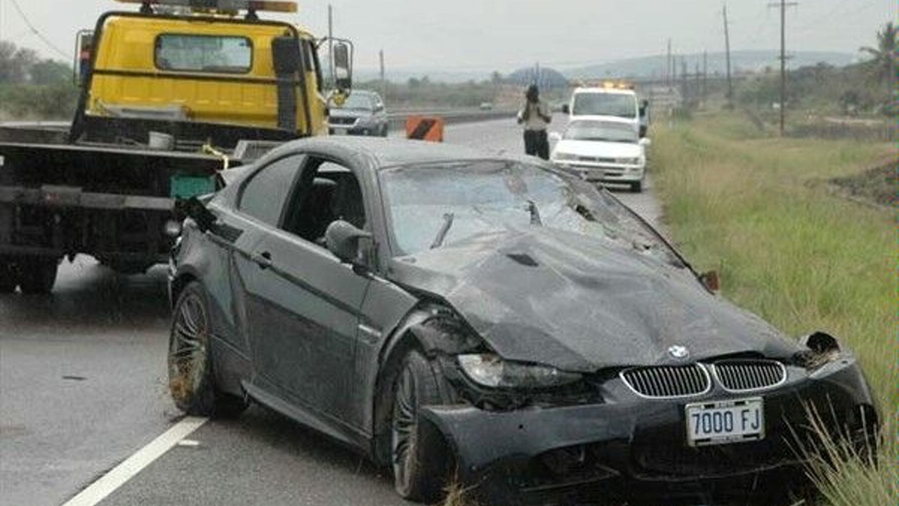 Crashed BMW M3 of Usain Bolt