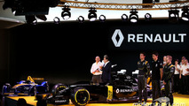 (L to R): Frederic Vasseur, Renault F1 Team Racing Director, Carlos Ghosn, Chairman of Renault, Kevin Magnussen, Renault F1 Team, Jolyon Palmer, Renault F1 Team and Esteban Ocon, Renault F1 Team