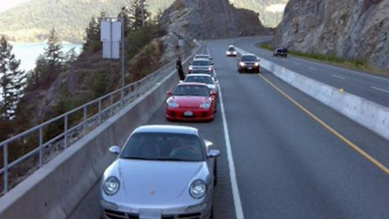 Porsches stopped on Sea-to-Sky Highway