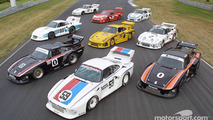 Led by the #59 Peter Gregg/Hurley Haywood Brumos Porsche 935, and flanked by the two #0 Ted Field/Danny Ongais Interscope Racing Porsche 935s, seven Porsche 935s grace the front straight-away at Lime Rock Park
