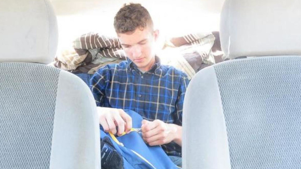 20-year-old Colin Ashby living in his Ford Focus sedan
