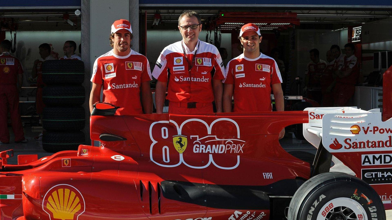 Fernando Alonso (ESP) with Stefano Domenicali (ITA) and Felipe Massa (BRA), celebrate ferrari's 800th GP, Turkish Grand Prix, 27.05.2010 Istanbul, Turkey