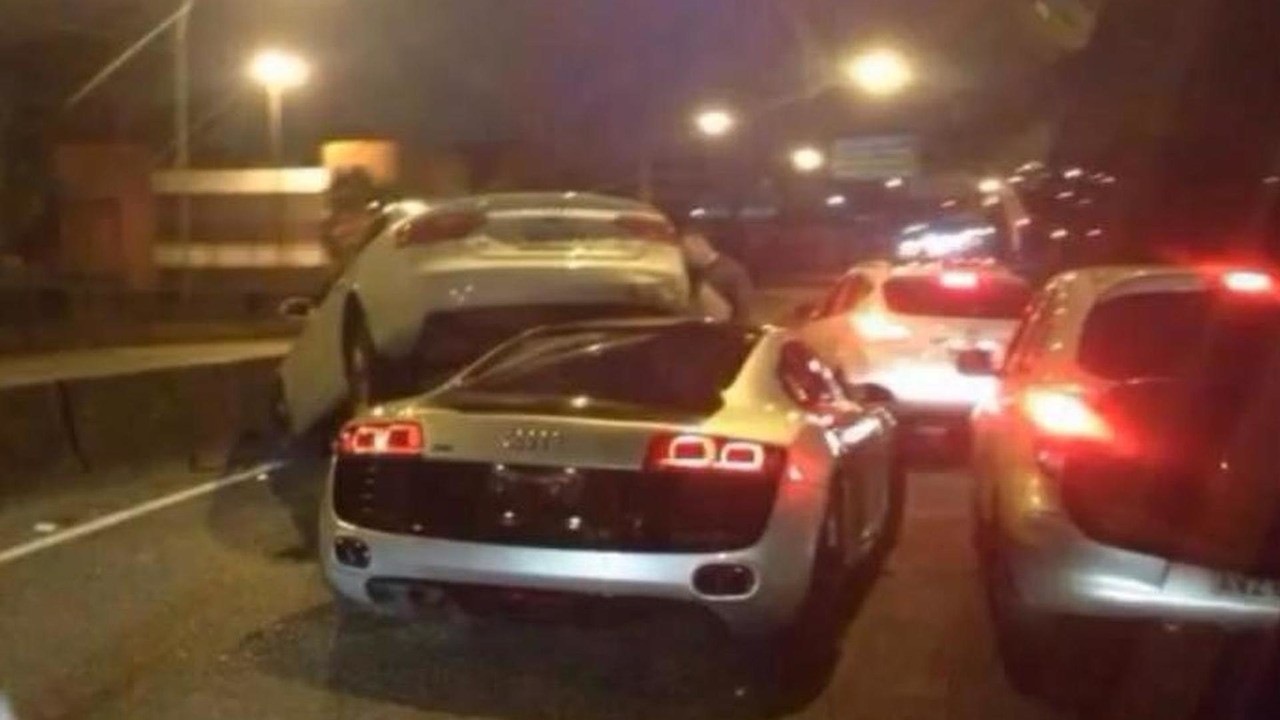 Audi R8 rams under A7 on highway,